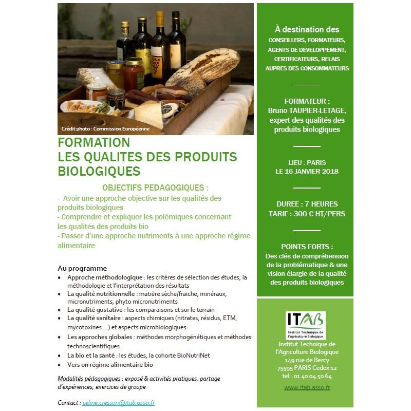 16 janvier 2018 : Formation Qualités des produits biologiques